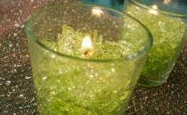 Gelkerzen in zartem Grün